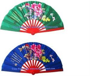 Picture of Tai Chi Mudan Flowers Bamboo Fan