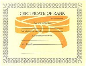 Picture of Certificate of Rank-Color Belts-B