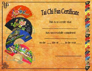Picture of Tai Chi Fan Certificates