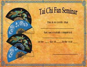 Picture of Tai Chi Fan Seminar Certificate