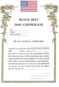Picture of Black Belt Dan Certificates