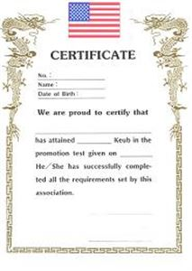 Picture of Certificate of Rank-Color Belts-A