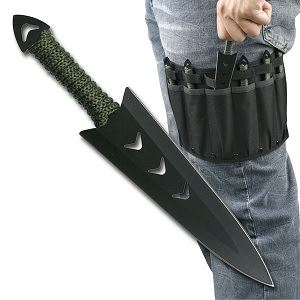Picture of Double Edge Black Throwers w/ Leg Sheath