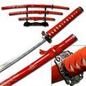 Picture of Samurai 3 Sword Gold Dragon Set in Red